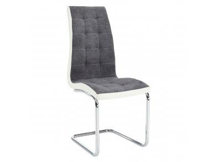 Jídelní židle, tmavě šedá látka / ekokůže bílá / chrom, SALOMA NEW