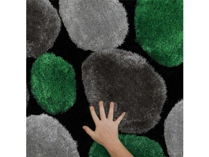 Koberec, zelená / šedá / černá, 80x150, PEBBLE TYP 1