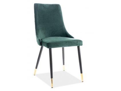 Jídelní čalouněná židle PIANO velvet zelená/černá/zlatá