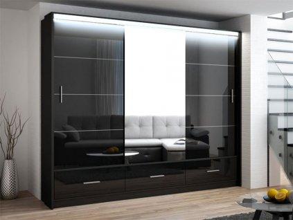 Šatní skříň MAURINO 250 černá s osvětlením