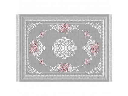 Koberec, šedá / vzor květiny, 160x230, SEDEF TYP 2