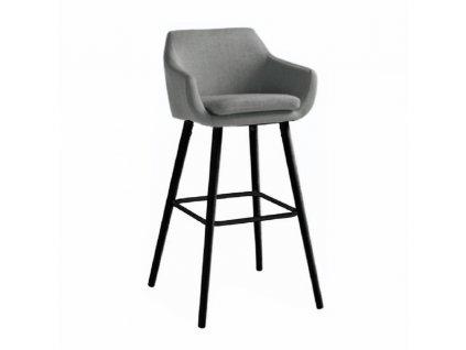 Barová židle, šedohnědá látka / černá, Tahira