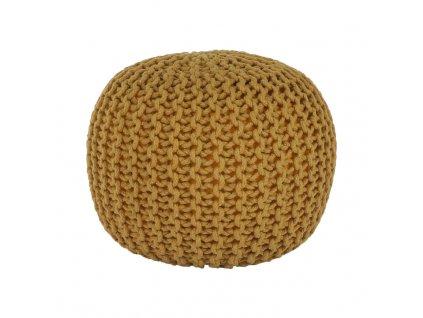 Pletený taburet, bavlna, hořčicová, GOBI TYP 2