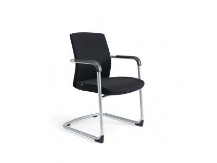 Jednací židle čalouněná, černý plast, zelená 203