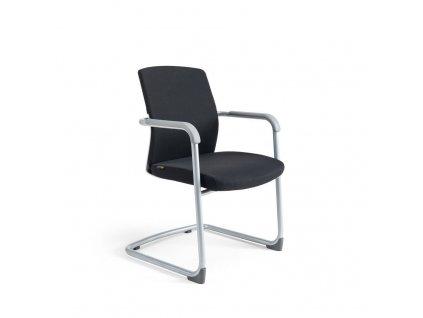 Jednací židle čalouněná, bílý plast, tmavě modrá 211