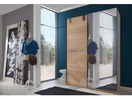 Šatní skříň s posuv. dveřmi KARIDA 768 dub/zrcadlo