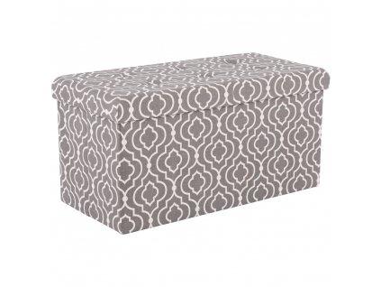 Skládací taburet, tkanina v šedém vzoru, FARGO