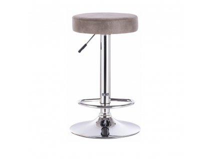 Barová židle, šedohnědá látka s efektem broušené kůže, GALVIN