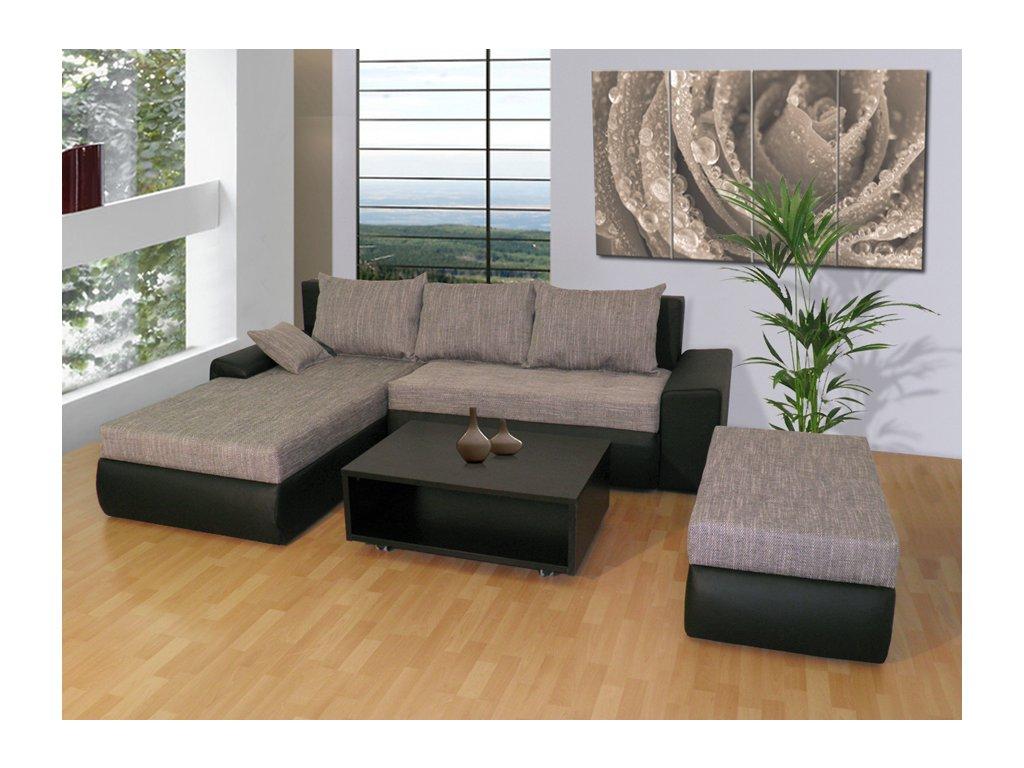 Luxusní sedací souprava Wiena + taburet + konferenční stolek