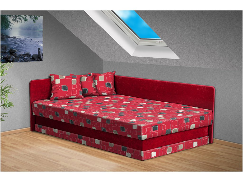 Postel s úložným prostorem a čely Robin 200x120 cm červená