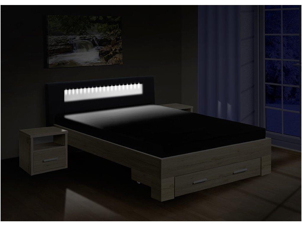 postel MEADOW 200x140cm, LED osvětlení