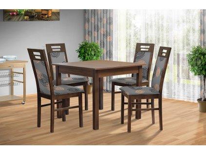 Jídelní sestava stůl 100x80 + 4 židle 873