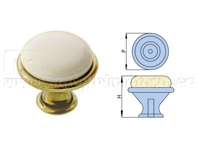 Úchytka kovová patina/porcelán
