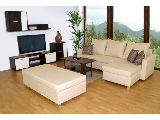 Obývací stěna + sedací souprava Essen + velký taburet