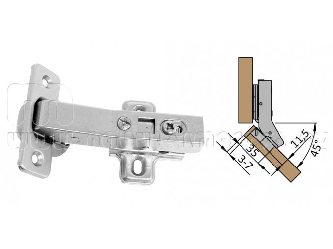 Závěs 45° s podložkou tlumení dvření s dotahem