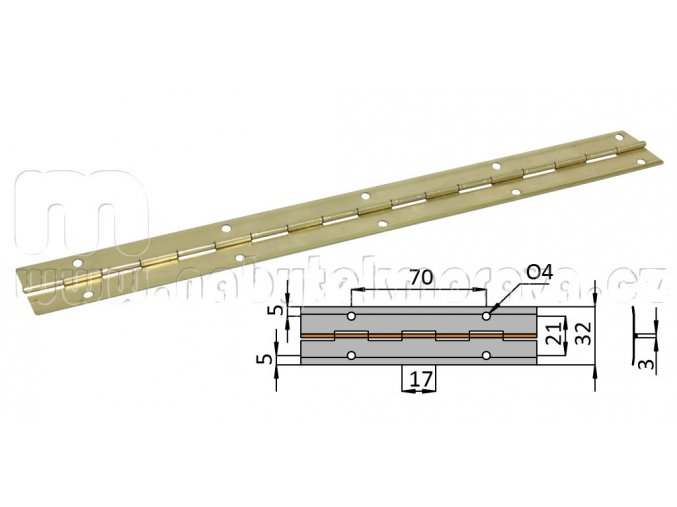 Piano závěs 3,5m