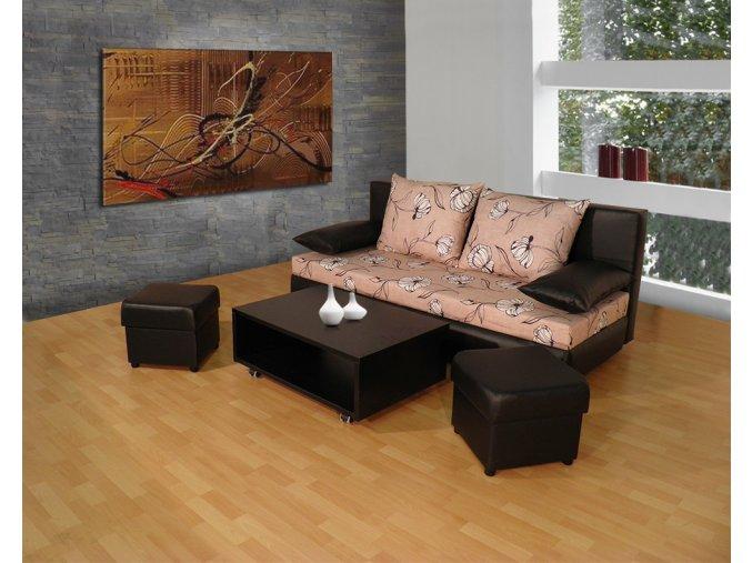 rozkládací pohovka Avenue + stolek + 2 taburety
