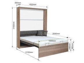 Výklopná postel VS 1054 P - 200x140 cm + OBRAZ ZDARMA