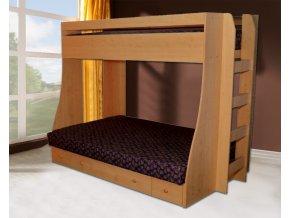 P4 Palanda a patrová postel se schůdky  + Obraz zdarma