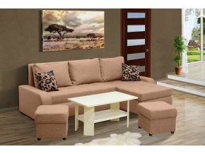 Rozkládací sedací souprava Fokus + konferenční stolek + 2 taburety  + obraz zdarma
