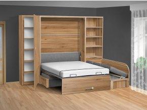 Výklopná postel s pohovkou VS 3075P, 200x140cm + 2 policové skříně