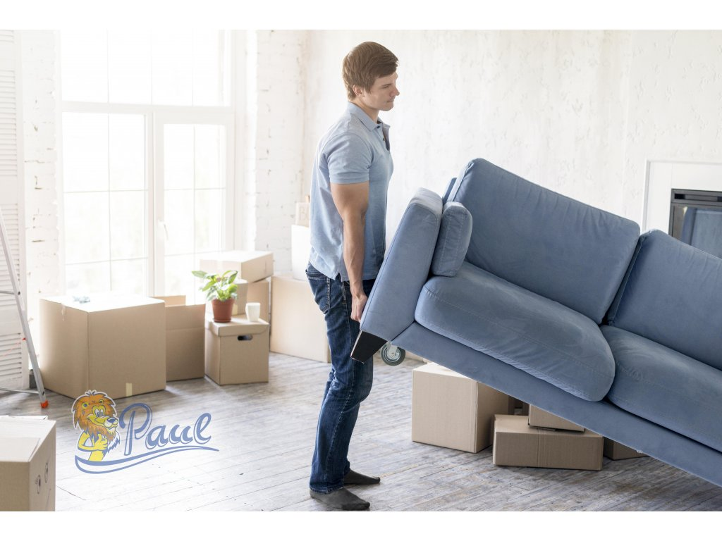 side view man handling couch while preparing move out