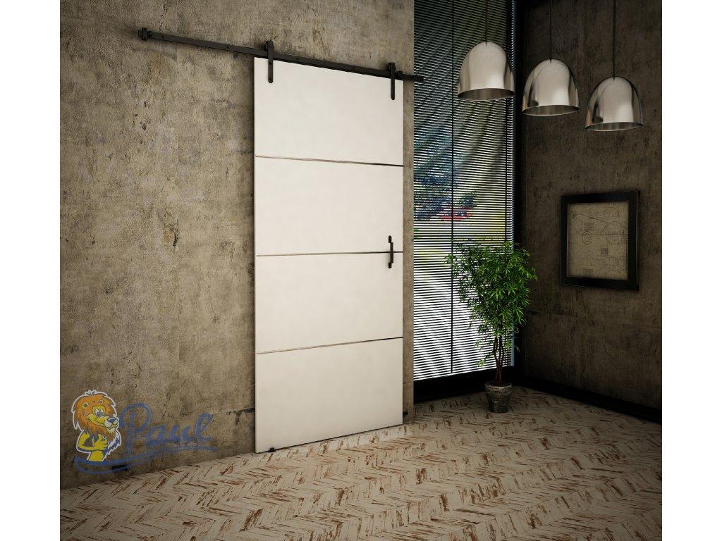 Drzwi przesuwne 80 RETRO PLUS biały + srebrne paski