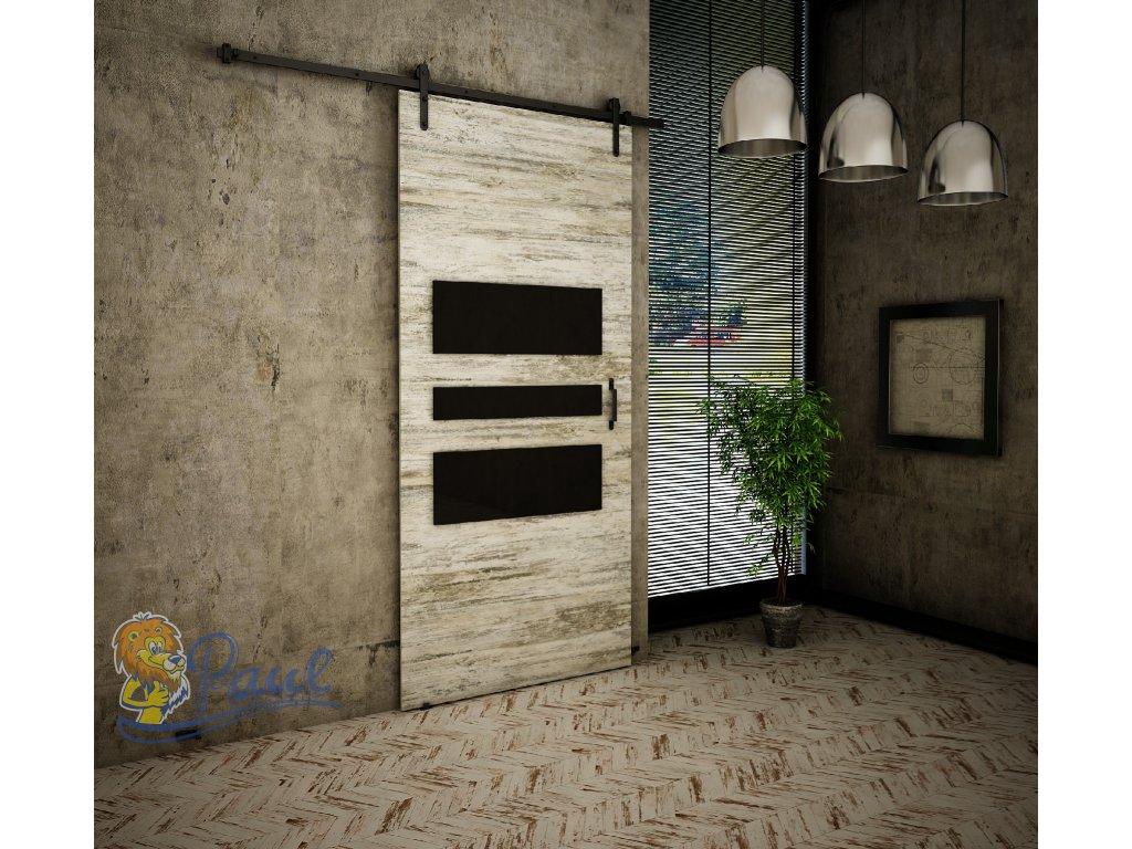 Drzwi przesuwne 80 RETRO R 1 sosna bielona