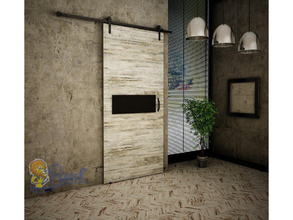 Drzwi przesuwne 80 RETRO R 4 sosna bielona