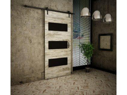 Drzwi przesuwne 80 RETRO R 2 sosna bielona