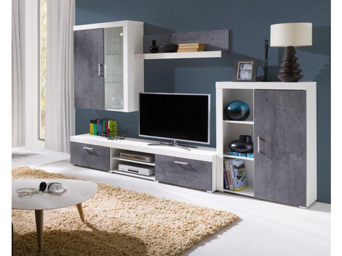 Obývací stěna Samir bílá/beton