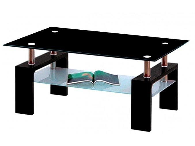 Konferenční stolek A 08-3 černá/černé horní sklo