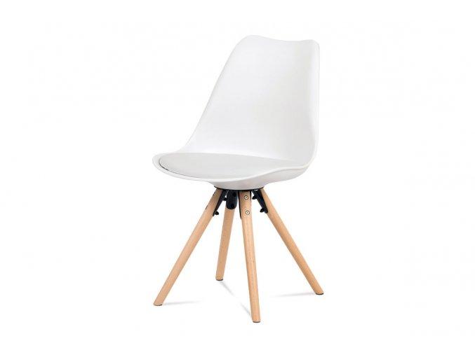 Jídelní židle, bílá plast+ekokůže, nohy masiv buk + rám černý kov