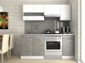 Kuchyňská linka Luigi III 120/180 bílá/beton