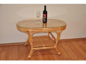 Ratanový stolek Kina oválný medový