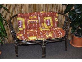 Ratanová lavice Bahama hnědá polstr hnědý list