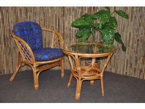 Ratanová sedací souprava Bahama 1+1 medová, polstr modrý