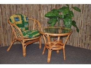 Ratanová sedací souprava Bahama 1+1 medová, polstr zelený