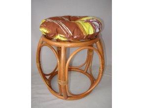 Ratanová taburetka široká koňak polstr hnědý list