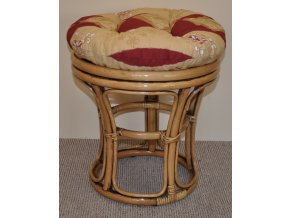 Ratanová taburetka brown wash polstr vínový motiv