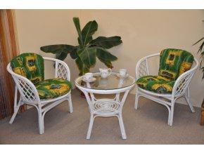 Ratanová sedací souprava Bahama bílá 2+1, polstry zelené