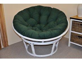 Ratanový papasan 110 cm bílý, polstr zelený dralon
