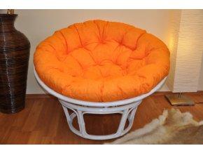 Ratanový papasan 110 cm bílý polstr oranžový melír