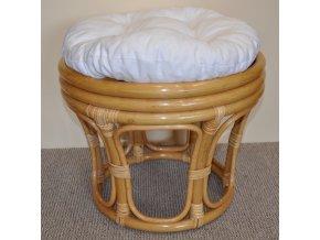 Ratanová taburetka velká medová polstr bílý