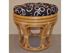 Ratanová taburetka velká medová polstr bubliny