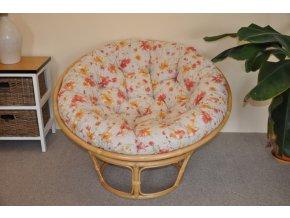 Ratanový papasan 110 cm medový polstr motiv květiny