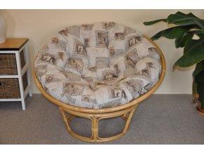 Ratanový papasan 110 cm medový polstr motiv známky