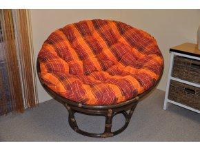 Ratanový papasan 110 cm hnědý polstr oranžová kostka