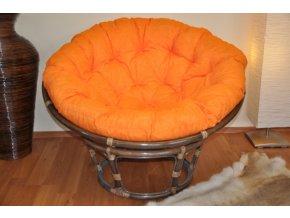 Ratanový papasan 110 cm hnědý polstr oranžový melír
