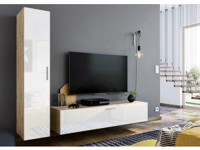 Obývací stěna OREGON dub artisan/bílá lesk